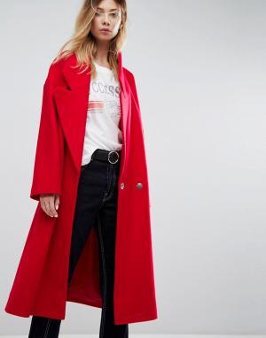 ASOS Пальто с большим воротником. Цвет: красный