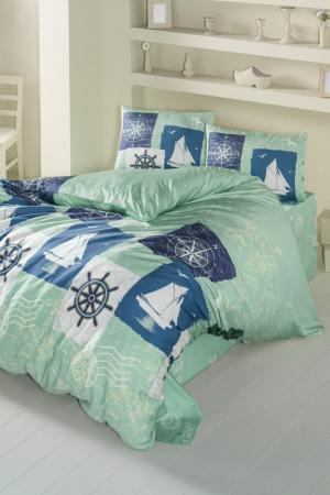 Комплект постельного белья Victoria. Цвет: green, blue, white, dark blue