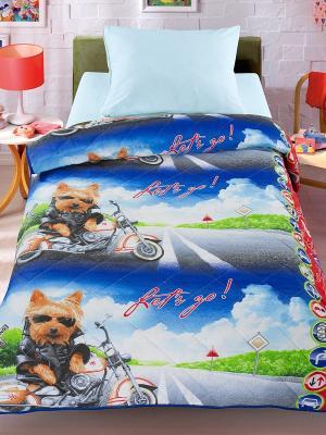 Покрывало-одеяло Letto Супербайк 140*200см. 100% хлопок. Цвет: синий