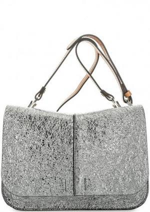 Серебристая сумка с откидным клапаном Gianni Chiarini. Цвет: серебряный
