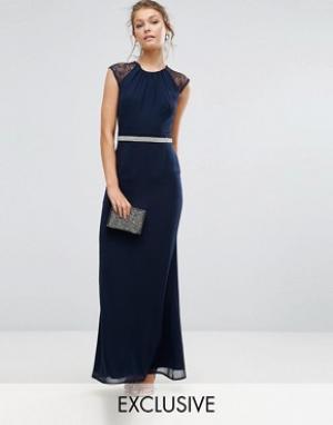 Elise Ryan Платье макси с отделкой и кружевной спиной. Цвет: розовый