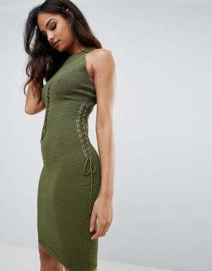 Forever Unique Платье с вырезами. Цвет: зеленый