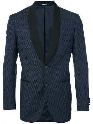 Пиджак с контрастными лацканами Tonello. Цвет: синий