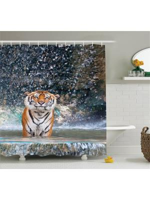 Фотоштора для ванной Волшебная птица, индеец с волками, тигр в воде, слон и бегемот, 180x200 см Magic Lady. Цвет: коричневый, бежевый, белый, оранжевый