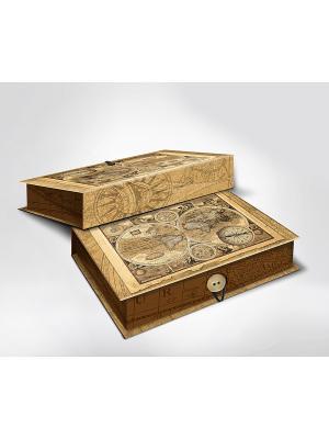 Подарочная шкатулка-коробка СТАРЫЕ КАРТЫ M Magic Home. Цвет: бежевый, коричневый