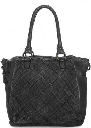 Кожаная сумка с длинными ручками и дополнительным плечевым ремнем Taschendieb. Цвет: черный