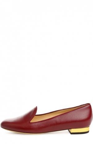 Кожаные лоферы ABC с аксессуаром Charlotte Olympia. Цвет: бордовый