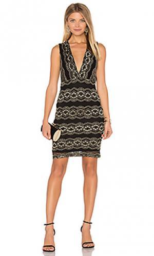 Кружевное мини-платье moroccan Nightcap. Цвет: металлический золотой