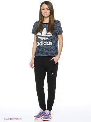 Футболка Track Denim Tee Adidas. Цвет: темно-серый