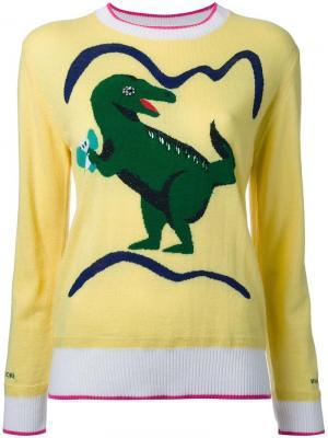 Джемпер с принтом-интарсией динозавра Muveil. Цвет: жёлтый и оранжевый
