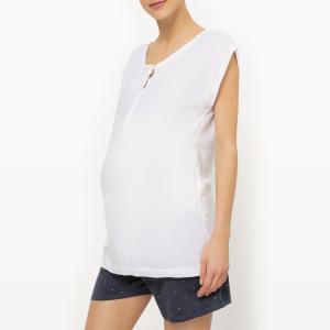 Пижама с шортами для периода беременности и грудного вскармливания из 2 предметов La Redoute Collections. Цвет: белый/ синий