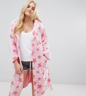 Yours Розовый халат со звездами. Цвет: розовый