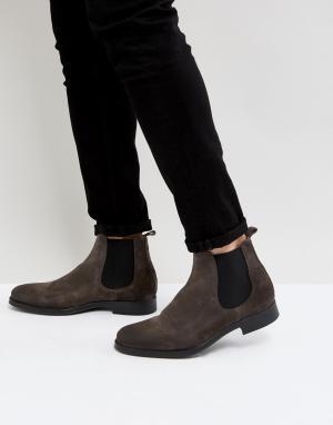 Selected Homme Серые замшевые ботинки челси Oliver. Цвет: серый