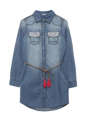Платье джинсовое Blukids. Цвет: голубой
