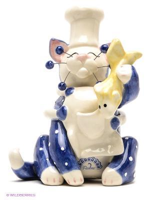 Фигурка Кот Шеф Pavone. Цвет: белый, синий, розовый, желтый