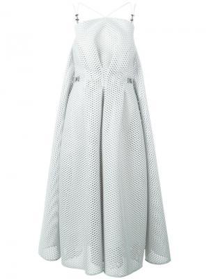 Сетчатое расклешенное платье Maticevski. Цвет: серый