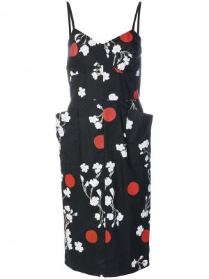 Платье с цветочным принтом Isa Arfen. Цвет: чёрный