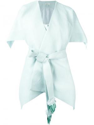 Пиджак с укороченной панелью на спине Delpozo. Цвет: зелёный