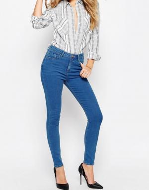 ASOS Насыщенно-синие укороченные джинсы скинни RIDLEY. Цвет: синий