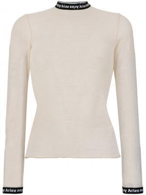 Блузка с контрастной горловиной Aries. Цвет: телесный