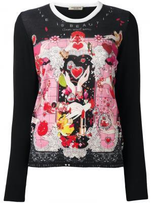 Блузка с принтом сердец Piccione.Piccione. Цвет: чёрный