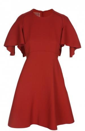 Приталенное мини-платье с объёмными рукавами Giambattista Valli. Цвет: красный