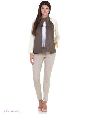 Жакет из стеганой ткани с трикотажем RIJJINI. Цвет: серо-коричневый, бежевый, темно-бежевый