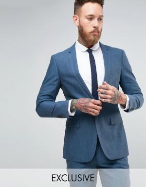 Number Eight Savile Row Пиджак зауженного кроя с узором в елочку. Цвет: синий