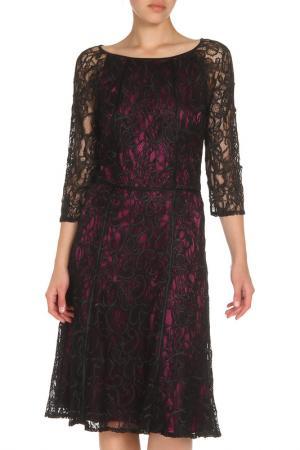 Платье из гипюра с рукавами 3/4 Apanage. Цвет: черный, фиолетовый