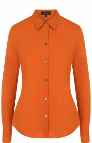 Однотонная шелковая блуза Theory. Цвет: оранжевый