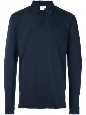 Рубашка-поло Riviera с длинными рукавами Sunspel. Цвет: синий