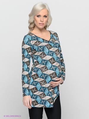Туника для беременных ФЭСТ. Цвет: голубой, синий, коричневый