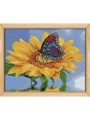Алмазная мозаика Подсолнух с бабочкой Цветной. Цвет: белый