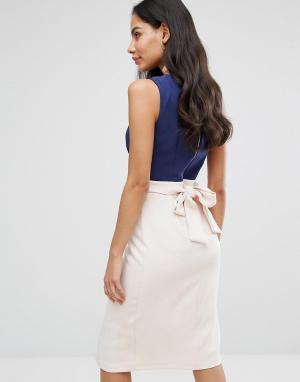 Closet London Платье с запахом в стиле колор блок поясом. Цвет: мульти
