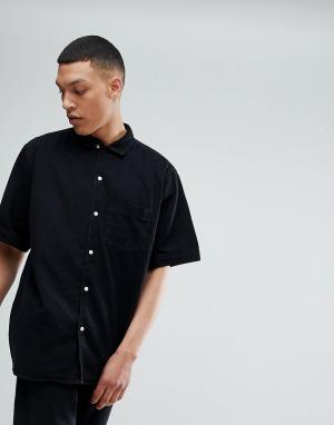 Weekday Черная джинсовая рубашка Solo. Цвет: черный