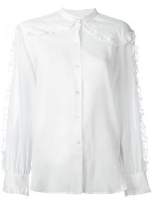 Рубашка без воротника с отделкой оборками Masscob. Цвет: белый