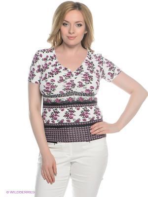 Блузка СТиКО. Цвет: розовый, белый, зеленый