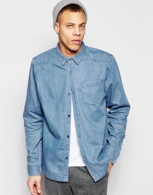 Waven Голубая джинсовая рубашка классического кроя в стиле вестерн Alf. Цвет: синий