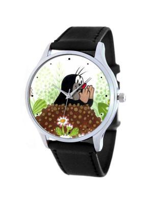 Дизайнерские часы Кротик Tina Bolotina. Цвет: черный, зеленый, темно-коричневый