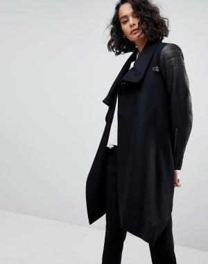 AllSaints Пальто-бушлат с кожаными рукавами. Цвет: черный