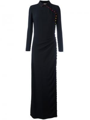 Приталенное платье с пуговичной отделкой Marco De Vincenzo. Цвет: чёрный