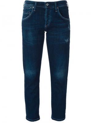 Укороченные брюки кроя слим Citizens Of Humanity. Цвет: синий