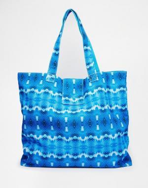 Echo Двусторонняя пляжная сумка с принтом. Цвет: синий