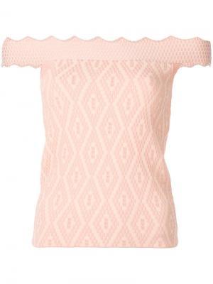 Блузка с открытыми плечами Jonathan Simkhai. Цвет: телесный
