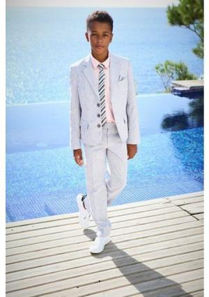 Комплект, 4 части: пиджак + брюки рубашка галстук. Цвет: дымчато-серый/белый в полоску+розовый