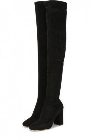 Замшевые ботфорты Jackie на устойчивом каблуке Dolce & Gabbana. Цвет: черный