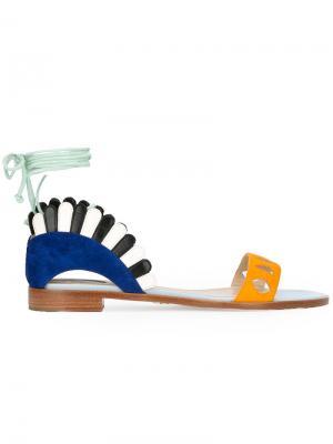 Сандалии со шнуровкой Paula Cademartori. Цвет: многоцветный