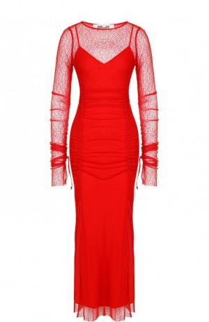Приталенное платье-миди с длинным рукавом и вырезом-лодочка Diane Von Furstenberg. Цвет: красный