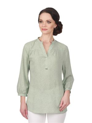 Блузка BLAUZ. Цвет: зеленый, светло-серый