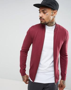 ASOS Бордовая хлопковая спортивная куртка. Цвет: красный